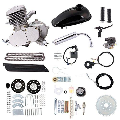 Bearing Gas Scooter (80cc Bike Bicycle Motorized 2 Stroke Petrol Gas Motor Engine Kit Set Silver)