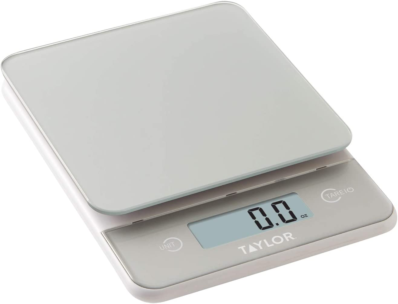 Taylor Precision Products Glass Top Food Scale with Touch Control Buttons, 11 lb Capacity, Silver