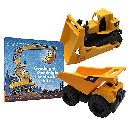 Goodnight Construction Site Gift Set | CAT Toy Trucks - Dump Truck & Bulldozer and Goodnight, Goodnight Construction Site Board Book