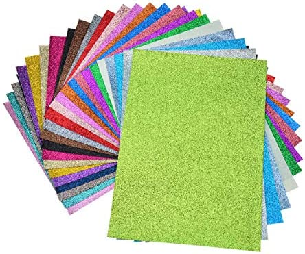 24 Pieces Assorted Colors A4 Size(8 X 12 Faux Leather Glitter Canvas Sheets
