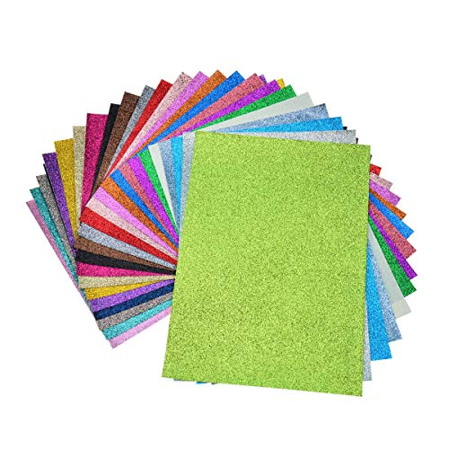 Faux Leather Glitter Canvas Sheets- 24 Pieces Assorted Colors A4 Size8 X 12 InchShiny Glitter Fabric Sheets for Bows, Earrings, Hair Accessories Making(24 Colors, Each Color One Sheet