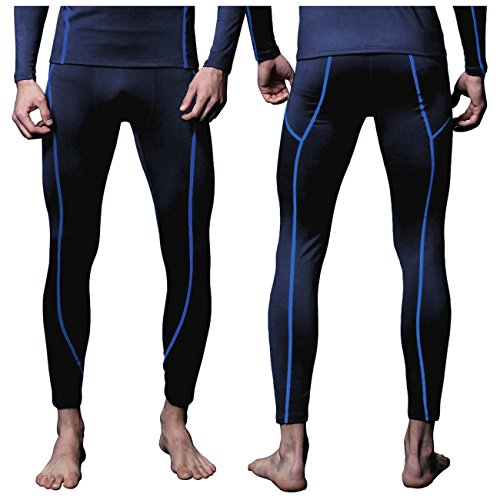 FITEXTREME Mens MAXHEAT Fleece Long Johns Thermal Underwear Bottom Navy L
