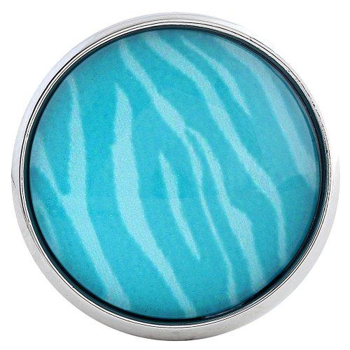 Morella click-button bouton pression en verre turquoise tigerfell modèle blanc