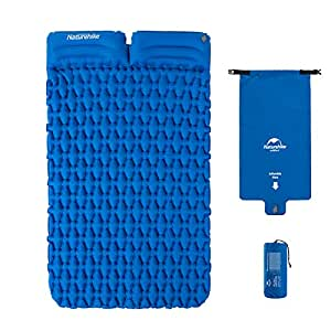 Outdoor Ultra-Light Inflatable Mat Camping Tent Sleeping Pad Hiking Single Thick Moisture-Proof Cushion with Air Bag and Pillow (Blue, 2person, with Pillow) NH19Z013-P