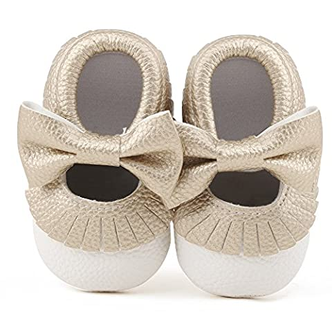 Delebao Infant Toddler Baby Soft Sole Tassel Bowknot Moccasinss Crib Shoes (12-18 Months, White & - Shoes