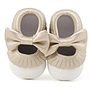 Delebao Infant Toddler Baby Soft Sole Tassel Bowknot Moccasinss Crib Shoes (0-6 Months, White & Gold)