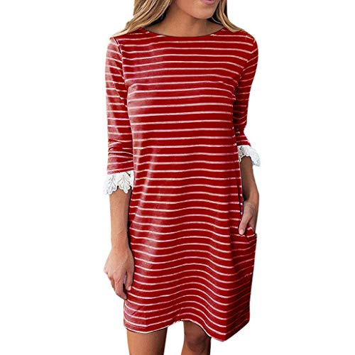 Women Stripe Print Dress,Cenglings Casual O Neck Lace 3/4 Sleeve Patchwork Mini Sundress Beach Dress with Pocket Red