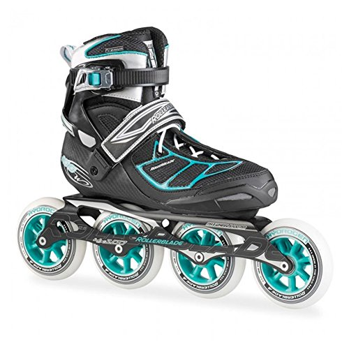 Rollerblade New 2015 Tempest W 100C Premium Fitness/Race Skate with 4x100mm Supreme Wheels - SG9 Bearings, Black/Blue, US Women's 6