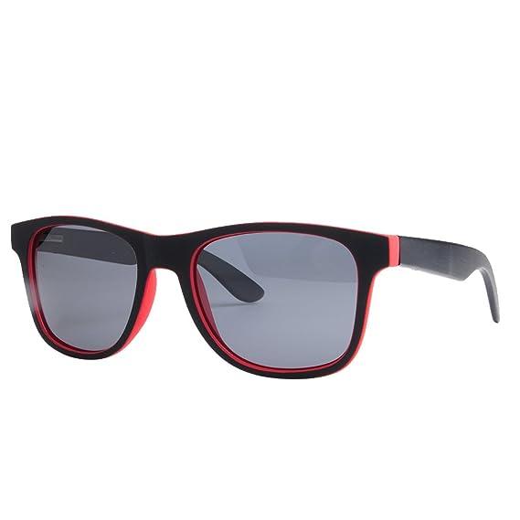 MALVARROSA SUNGLASSES SOROLLA-RED Gafas de sol, Rectangulares, Polarizadas, 48, Red/Bambú y Negro