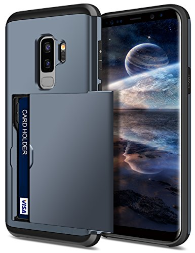 SAMONPOW Galaxy S9 Plus Case,Hybrid S9+ Plus Wallet Case Card Holder Shell Heavy Duty Protection Shockproof Anti-Scratch Soft Rubber Bumper Cover for Samsung Galaxy S9 Plus (2018) - Dark Blue