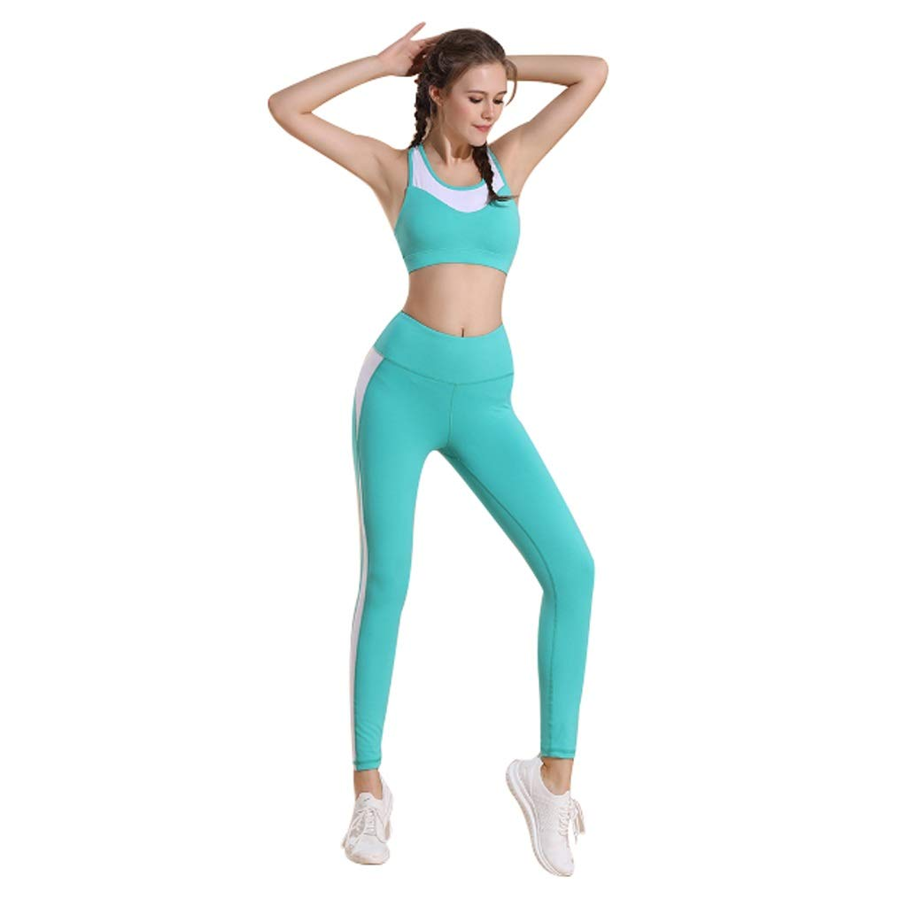 Green Twopiece Yoga Suit Women's Sports Vest Tightfitting Trousers Running Workout Clothes Sports And Leisure Suits