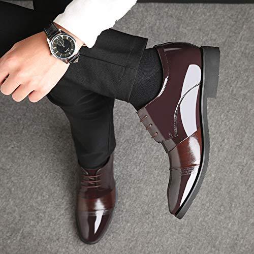 Cm De Zapatos Brown8cm Británicas Cuero Con Empresas Vestir Cordón Para Hombres 8 vBdqyrPwv