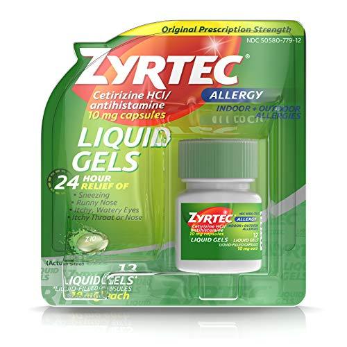 Zyrtec 24 HR Indoor & Outdoor Allergy Liquid Gels Capsules, Cetirizine HCI Antihistamine, 12 ct (Indoor Outdoor Gel)
