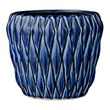 Bloomingville A27120038 Round Blue Ceramic Flower Pot