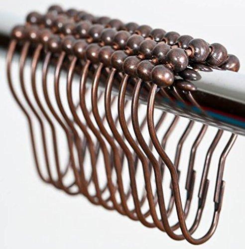 nikkouware Easy Install Rustproof Shower Curtain Hooks - Frictionless Stainless Steel Metal - Easy Glide Shower Rings for Shower Curtains Rods - Oil Rubbed Bronze - Set of 12 Hooks