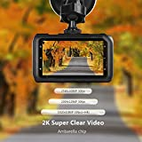 "Z-Edge Z3 3"" Screen 2K 2560 x 1080 Ultra HD Car Dash Camera 145 Deg Wide Angle Lens Dash Cams with Ambarella Chip, 32GB SD Card Included, WDR Enhance Night Vision, G-Sensor, Parking Monitor"