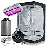 PrimeGarden Full Spectrum LED 300W Grow Light + 32''x32''x63'' 600D High Reflective Mylar Grow Tent Dark Room+4'' Inline Fan Air Carbon Filter Ducting Combo Ventilation Equipment for Plant Growing Hydroponic Grow Tent Complete Kit Hydroponic Growing System (32''x32''x63''+LED300W+4'' Filter Combo)