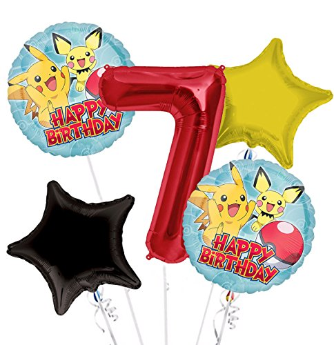 Pokemon Pikachu Happy Birthday Balloon Bouquet 7th Birthday 5 pcs - Party Supplies -