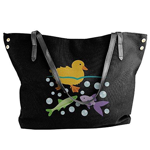 Duckling Handbag And Hobo Tote Fishes Large Black Canvas Tote Women's Handbag Shoulder Bag SI4wZxXnq