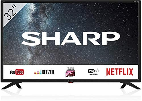 Sharp Aquos LC-32BC3E – 32″ Smart TV HD Ready LED TV, Wi-Fi, DVB-T2/S2, 1366 x 768 Pixels, Nero, suono Harman Kardon, 3xHDMI 2xUSB, 2019