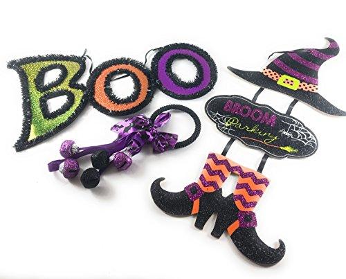 Halloween Witch, Boo Sign and Door Hanger Home Decorations-Bundle of 3 Total (Halloween Boo Door Sign)