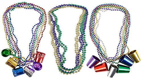 Mardi Gras Bulk Beads; Mardi Gras Necklace Features with Beer Mugs, Shot Glass, And reguler Mardi Gras Necklace, 36 Pack, 12 of each, Great Party Fun, 33 Inc By 4E's Novelty, ()