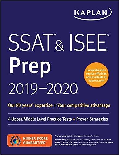 SSAT ISEE Prep 2019 2020 4 Upper Middle Level Practice Tests Proven Strategies Kaplan Test