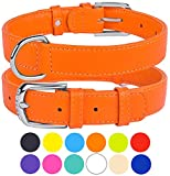 "CollarDirect Genuine Leather Dog Collar 12 Colors, Soft Padded Collars for Puppy Small Medium Large, Mint Green Black Pink White Red Blue Purple (Orange, Size L Neck Fit 16""-18"")"