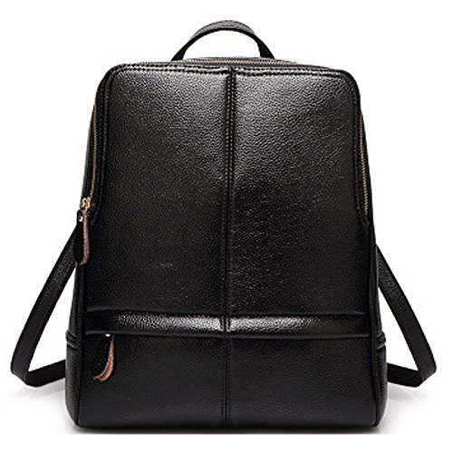 (JVP1059-K) Mochila de cuero de la mochila de las mujeres Mochila de cuero natural para niñas Mochila de moda impermeable de gran capacidad del bolso lindo Negro