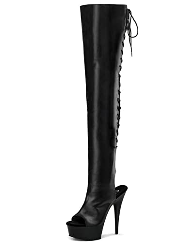Amazon.com | 5 3/4 Inch Heel Back Lace Thigh High Boots Sexy ...