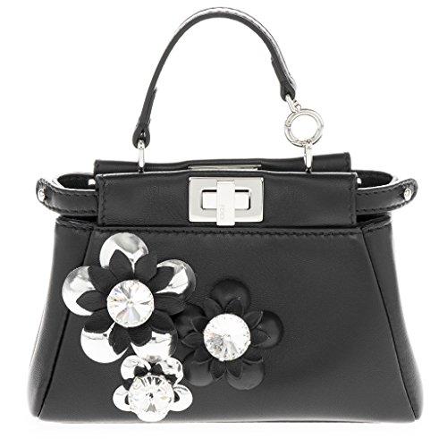 Fendi Women's Micro Peekaboo Crystal Flowerland Satchel Black