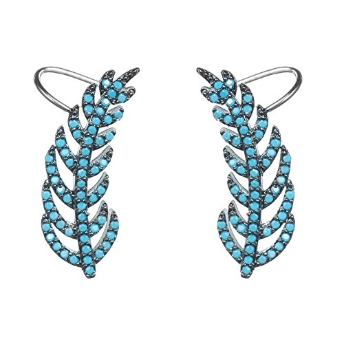 KIVN Fashion Jewelry CZ Cubic Zirconia Feather Ear Cuff Ear Crawler Climber Earrings for Women(Turquoise)