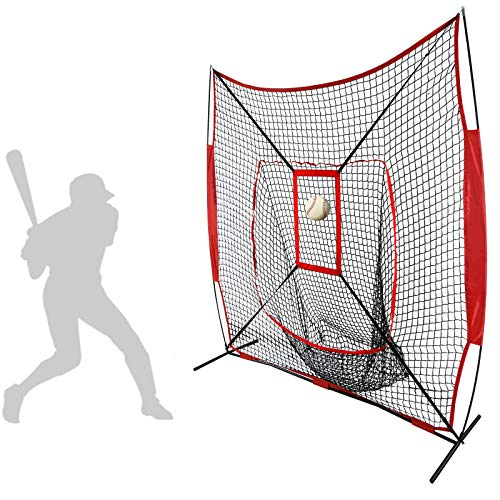 Smartxchoices 7x7 Heavy Duty Baseball Softball Practice Net with Mouth, Bow Frame and Bonus Strike Zone for Pitching Hitting and Catching, Portable Batting Soft Toss Backstop Training Equipment Aids