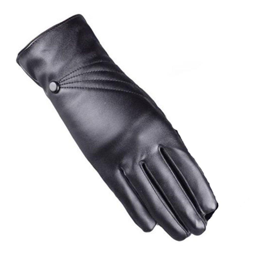 Longra Luxuriöse Frauen Mädchen Leder Winter super warm Handschuhe Kaschmir Bildschirm berühren Longra13