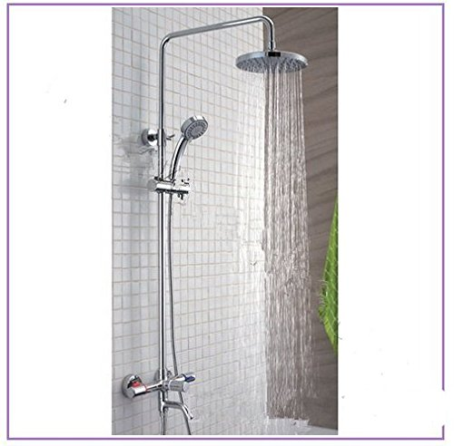 GOWE Luxury Brass Head Rain Shower Set, Double Handle Shower Faucet Overhead Shower Set 0