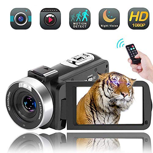 Video Camera Camcorder,Vlogging Camera Recorder for Youtube Full HD 1080P 30FPS 16X Digital Zoom Vlog Camera Support Night Vision Pause Function Time Lapse & Motion Detection