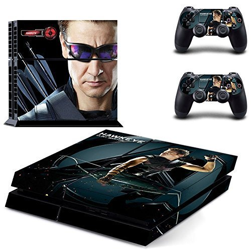 MightyStickers® PS4 Console Designer Protective Vinyl Decal Covers for Sony PlayStation 4 and Controller Skins Stickers - Marvel Comics The Avengers 2 Movie Super Titan Heroes Age of Ultron Hawkeye Avenging Archer Clint Barton Jeremy Lee Renner ()