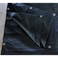 6 Ft. X 8 Ft. Heavy Duty 6 Oz. Black Poly Tarp 11-12 Mil Thick by Harpster Tarps