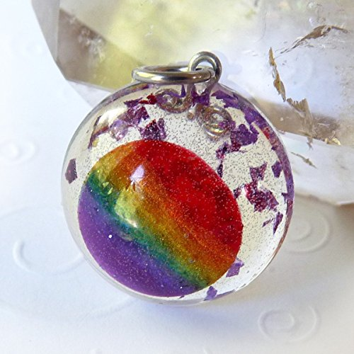 - Rainbow Gem Pendant - High Quality Resin Dome Handmade Pendant, Chakra, Pride, Jewelry, Necklace - Unique Gift for Women, Men, Teens, Student - Clear with Encased Rainbow, Artisan, OOAK - About 1