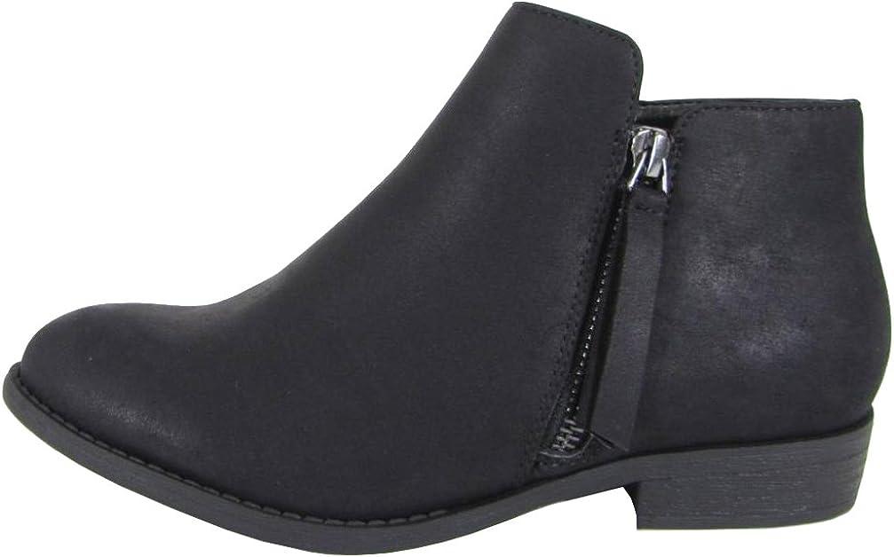 City Classified Womens Closed Toe Zipper Tassel Low Heel Ankle Boot Black 6 M US