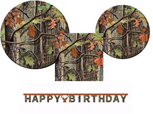 Hunting Camo Plates, Napkins and Happy Birthday Jointed Banner for 16 Guests -
