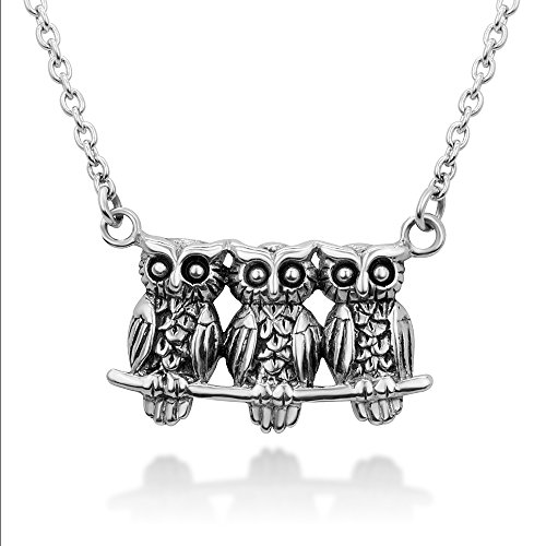 Chuvora 925 Sterling Silver Triple Owls Family Sisters Brothers Friends on Tree Branch Pendant Necklace 18