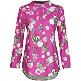 Blouses For Women Stand Collar Button Printed Long Sleeves Sweatshirts For Women Plus Size Tops Loose Shirt