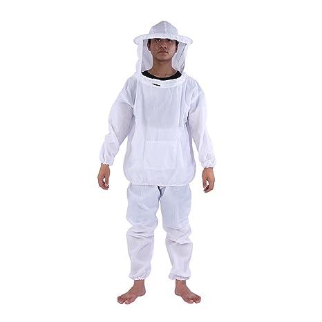 TOPINCN Apicultor Esgrima Chaqueta con Capucha + Pantalones Traje de protección Profesional Equipo de Apicultura Color Blanco Un tamaño