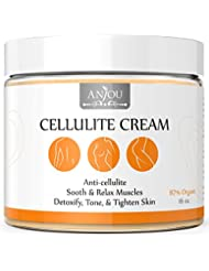 Anti Cellulite Cream, 16 oz with L-Carnitine (Anjou Natural Muscle Relaxation for Yoga, Soothes and Tightens Skin Gel, Hot Cream, 87% Organic Fat Burner)