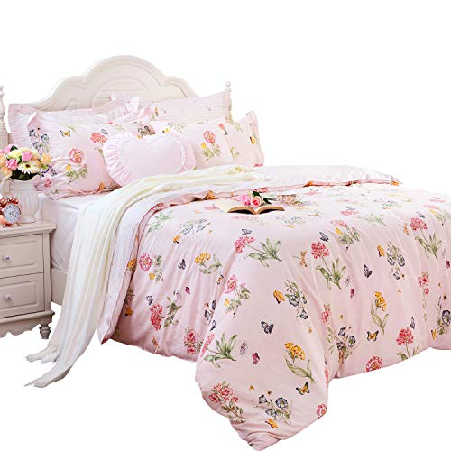 FADFAY Butterfly Duvet Covers Pink Floral Bedding Hypoallergenic Cotton Designer Bedding Set 3 Pieces, 1duvet Cover & 2pillowcases (King/California King Size, Simple Style)
