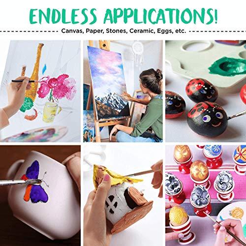 Chalkola Acrylic Paint Set for Canvas Painting, Crafts, Wood, Rock, Ceramics (32 Colors 0.74 oz / 22 ml tubes) - Rich Pigment, Non Fading Non Toxic Art Paints supplies for Kids, Adults & Artists