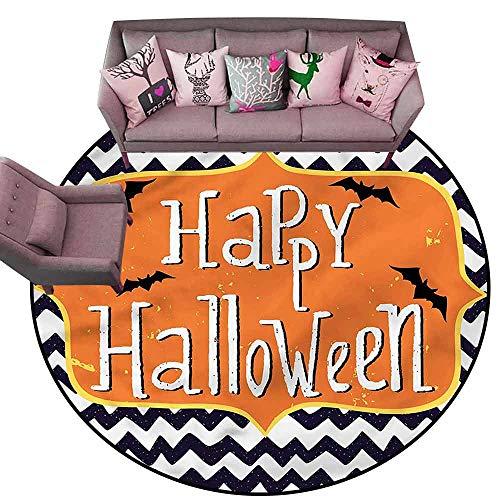 Bath Mat Set Kitchen Door Halloween,Doodle Style Chevron Bats Diameter 72
