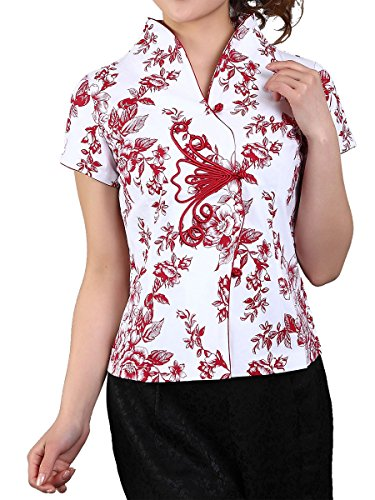 Bitablue Women's Stretch Cotton Short-Sleeve Chinese Shirt with Flower Print (Red Flower, Large)