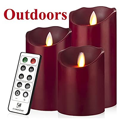 """Outdoor Indoor Candles Waterproof Battery Operated candles with Remote timer 12-H Flickering Flameless candles set of 3(4""""5""""6"""")-Burgundy-Comenzar®"""